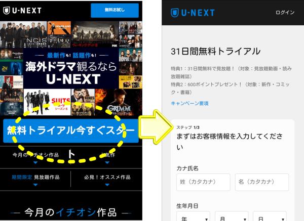 U-NEXT(ユーネクスト)の登録方法を画像で解説